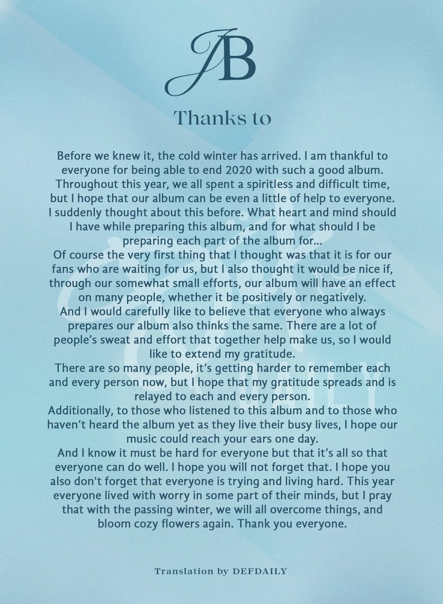 "[TRANS] GOT7 Breath of Love: Last Piece | JB Thanks To ""I pray that with the passing winter, we will all overcome things, and bloom cozy flowers again."" Credit: drink_bbom #GOT7_BreathofLove_LastPiece #JB #제이비 #임재범 #Jaebeom #GOT7 #갓세븐 @GOT7Official"