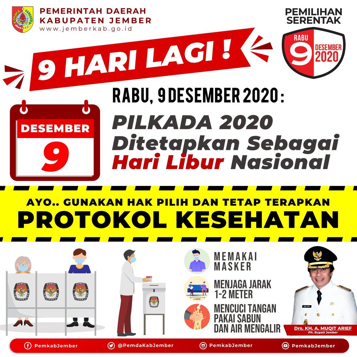 #Dulur udah tahu ya, bahwa Rabu, 9 Desember 2020 dilaksanakan Pilkada serentak untuk 270 daerah di seluruh Indonesia. Termasuk di Kabupaten Jember, Pemilihan Bupati dan Wakil Bupati. https://t.co/clv8AmHccb