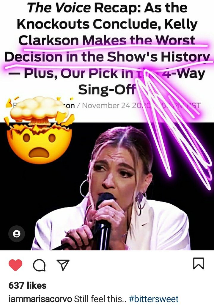 Be Better than this Marisa are hard there is only one winner . Move forward and work on Attitude. You have to have a thick skin Music business is hard. Kelly Chose as did audience and voice fans. #VoiceKnockouts Jhud didnt win Idol and didnt give in or give up.