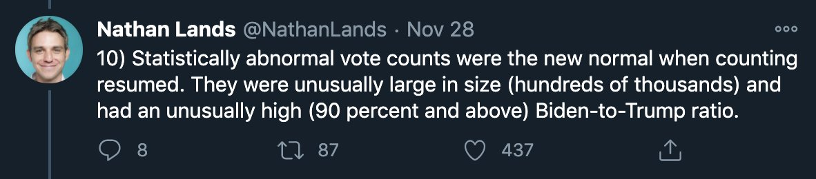 """Of all the dumb claims in dumb threads like these, there's always some point at which the dumbass discovers that Democrats win high-population urban counties by big margins but chalks it up to """"statistical abnormalities"""" rather than """"Philadelphia reported its votes"""". https://t.co/xYrZou1NA8"""