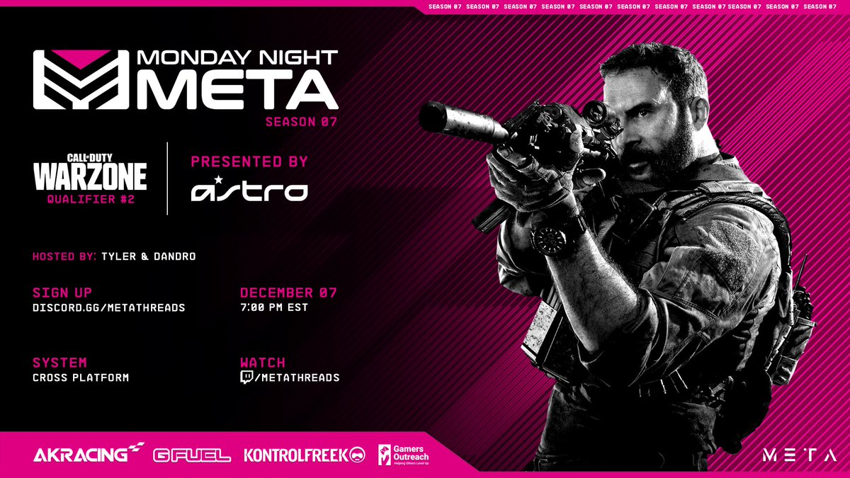 We are LIVE with Monday Night Meta presented by @ASTROGaming with Warzone QUADS!   Watch here:    🗣 @_dandro_ @TylerShanks_   @AKRacing @KontrolFreek @GamersOutreach