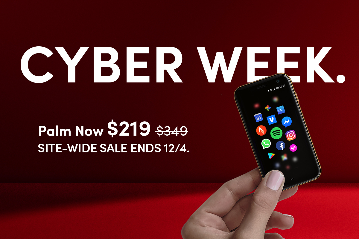 Missed out on our Black Friday sale? Don't worry, we got ya. Our #CyberWeek #Sale begins today! Find site-wide deals all week on Palm & Palm Bundles. Shop your hearts out:  #Palmphone
