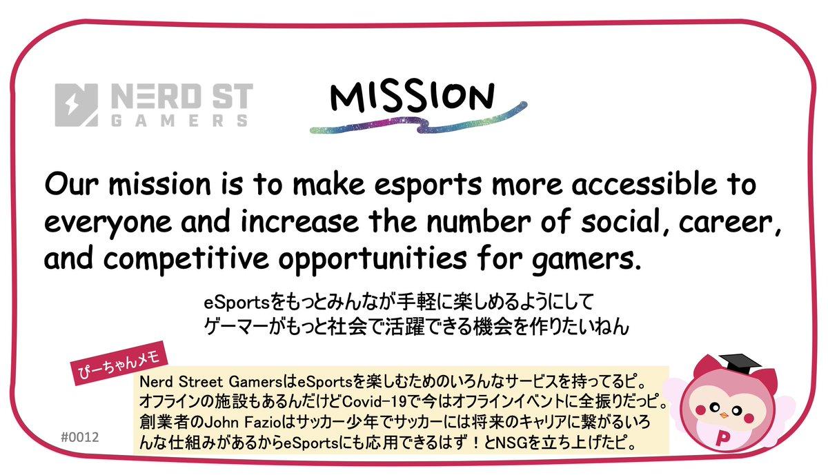 [世界で注目されているSportsTechスタートアップ5選 2/5] 🏙Nerd Street Gamers @nerdstgamers  🇺🇸アメリカ 🗓2016年 💰$13.8M 👥John Fazio @jfaz  🌐https://t.co/i8awCZp8eh  #SportsTech #startup https://t.co/5cp6ehmZXa