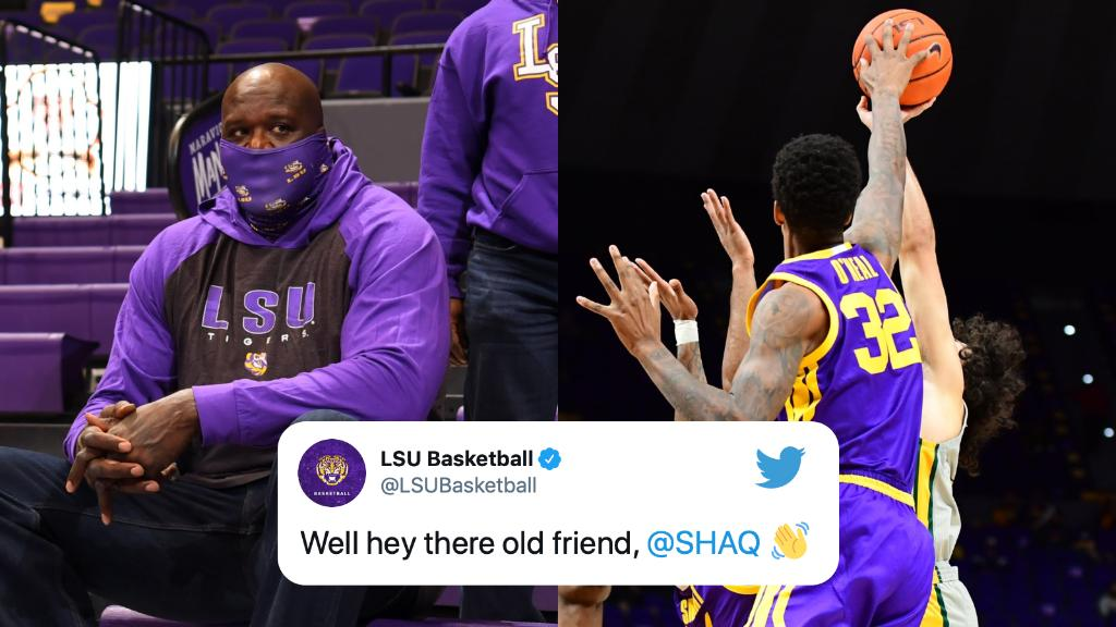 All in the family 👏  @SHAQ was in attendance to see his son, Shareef, play for LSU today.    (via @LSUBasketball) https://t.co/lXp9TmEOEJ