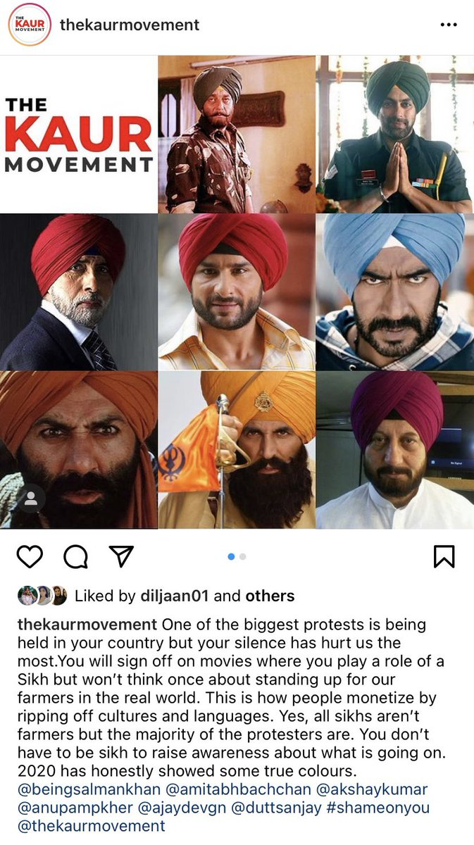 All well known faces across the world made movies on Punjab but now when farmers are in hard time, everyone is silenced. 😒 #AmitabhBachchan #AjayDevgn #sunnydeol #anupamkher #salmankhan #akshaykumar #SaifAliKhan #FarmersProtest #FarmersProtestChallenge