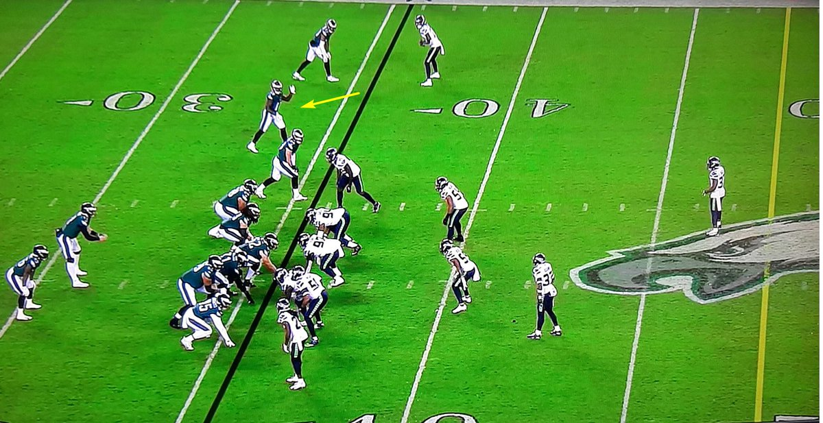 Here's Jalen Reagor with his hand up pre-snap because no one on Seattle is covering him. Wentz threw elsewhere (incomplete).