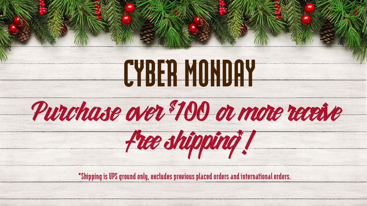 Happy Cyber Monday! Head on over to our https://t.co/fxG6bWQ7f7 and receive free UPS ground shipping on purchase $100.00 or more! https://t.co/qluTOaFu2o