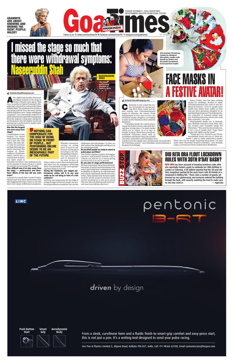 If you missed out on picking up the paper, find the link to the epaper here https://t.co/V8gd5T7Q0v  #GoaTimesTOI #goanews #goanewspaper #goa #bollywoodnews #entertainmentdaily #entertainmentnews #lifestylenews #lifestyle #entertainmentcenter #entertainment https://t.co/fn0zcKTIWp