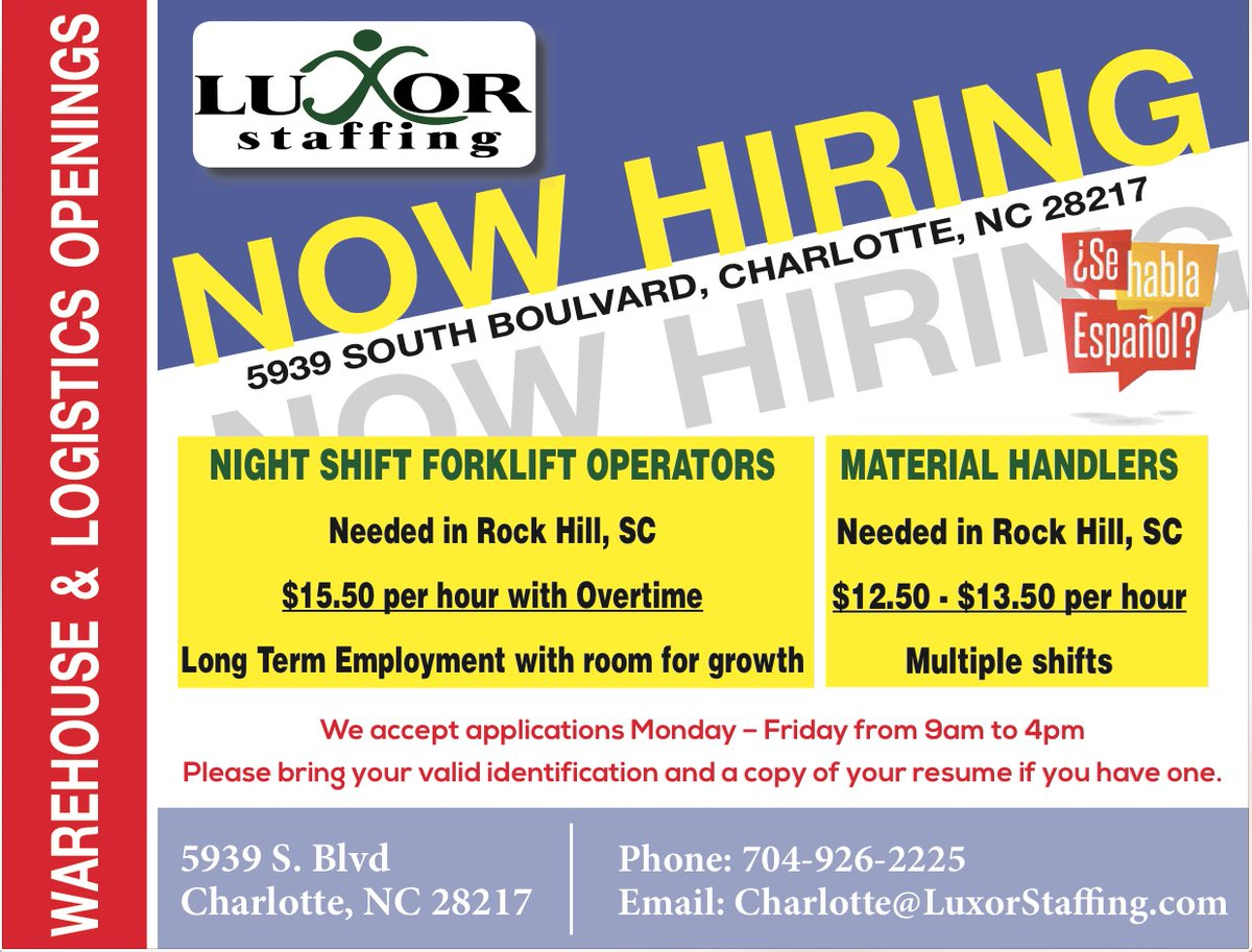 Luxor Staffing has several new jobs! Stop in and apply today! #job #work #jobs #jobsearch #career #business #o #love #instagood #hiring #recruitment #life #like #instagram #working #motivation #follow #employment #photography #marketing https://t.co/rtw42v5BFi