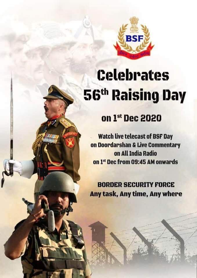 @rajnathsingh @BSF_India Congratulations to @BSF_India on completing 55 glorious years in service of nation. Happy 56th Raising day to all brave Bordermen. You have always proved your motto 'Jeevan Prayant Kartavya'. Proud as son of a Border men.🇮🇳