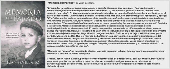 Mi Reseña de MEMORIA DEL PARAÍSO, del Gran Escritor Juan Sevillano  @RoMemoria  Disponible en #Amazon Papel https://t.co/cP68NqPhgh  #Kindle https://t.co/fZVoL9nXlx  #Miami #Mexico #Madrid #Espana #NewYork #Texas   @freeboostpromo https://t.co/vjtaAg7VRl
