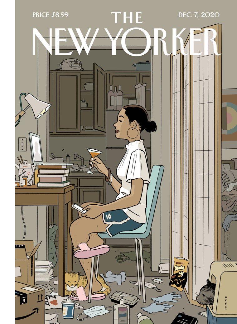 """ニューヨーカー今週号の表紙、いいー。今は、背景と上半身さえどうにかするだけで社会生活できる。そういう時代になってくのかな。細かく書き込まれてるものが全部""""今""""っぽくて笑う。"""