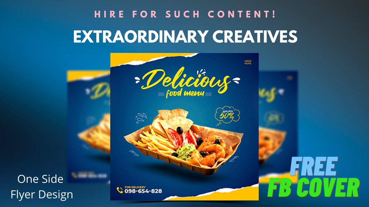 I will design a flyer for you, food flyer design with free Facebook cover click the link -  #flyerdesign #Flyers #foodPosts #FreeFacebookCover #dttwtselfieday #WWERaw #DisneyHolidaySingalong