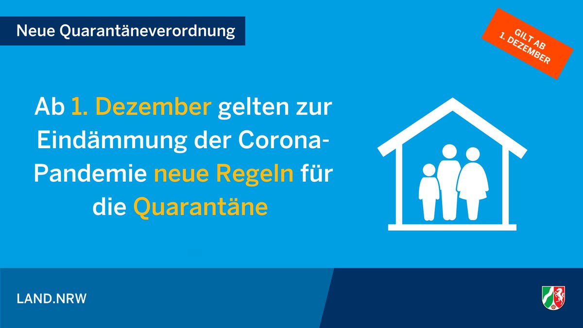 Die neue Quarantäneverordnung für #NRW ist ab dem 1. Dezember gültig. #Corona https://t.co/ktebMffTS8