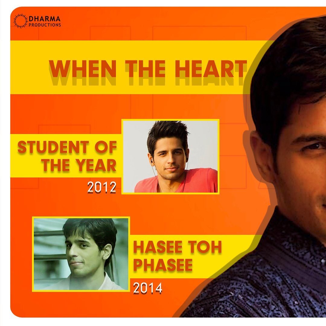 #repost @DharmaMovies  Here are some recommendations when the heart wants to watch Sidharth! ♥️ @SidMalhotra  #StudentOfTheYear #HaseeTohPhasee #KapooAndSons #Ittefaq #SOTY #HTP . . . . . #DharmaProductions #DharmaMovies #Dharma #Nostalgic #EastFm