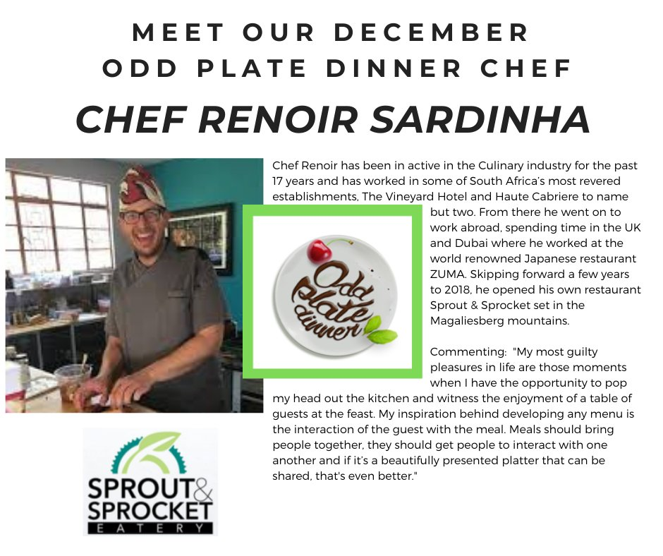 Going the extra mile to prepare a gastronomic experience with a difference!  @ChefRenoirSardinha is one of the guest chefs for this coming Saturday's #OPD. Experience his creativity and flair for your delight!   Book on #Quicket #weekendvibes #goodcause #sproutandsprocket https://t.co/u9ysegD93T