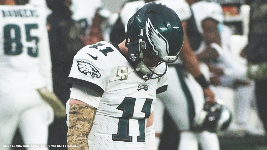 Carson Wentz this season:  -15 INT (most in the NFL) -46 sacks (most in the NFL) -95 off-target incompletions (most in the NFL) https://t.co/58O6lUU5xU