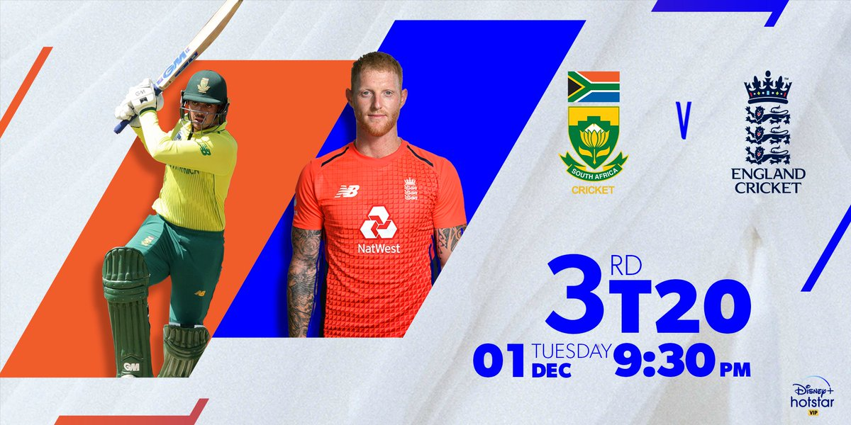 The final T20 game of the tournament is here now. Whose night is it going to be when England takes on South Africa in Cape Town?  Catch the action from 9.30 PM onwards.  @OfficialCSA @englandcricket #SAvsENG #StayTuned