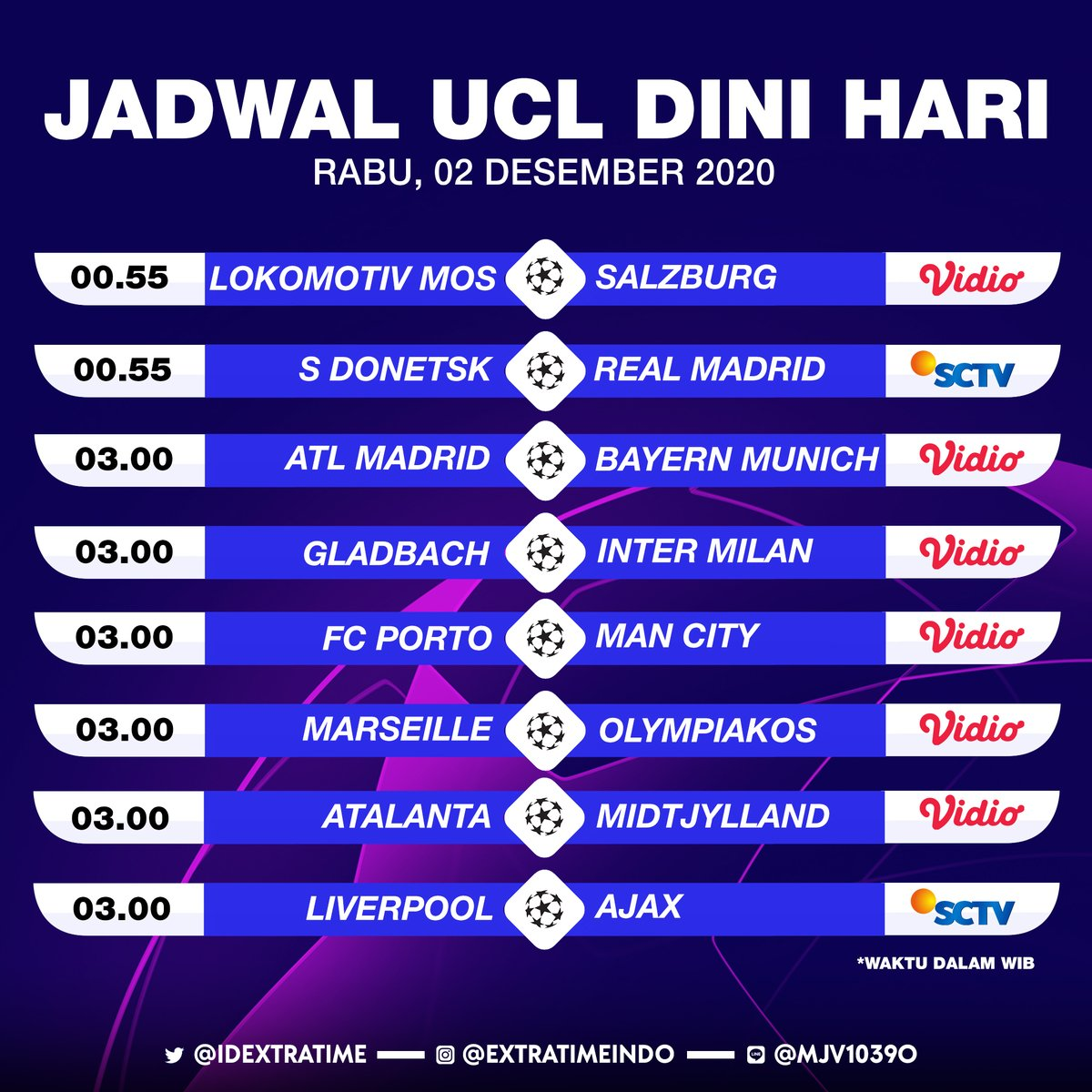 Extra Time Indonesia On Twitter Jadwal Liga Champions Tengah Pekan Ini Rabu 2 Desember 2020 00 55 Wib Shakhtar Donetsk Vs Real Madrid 03 00 Wib Liverpool Vs Ajax Amsterdam Live