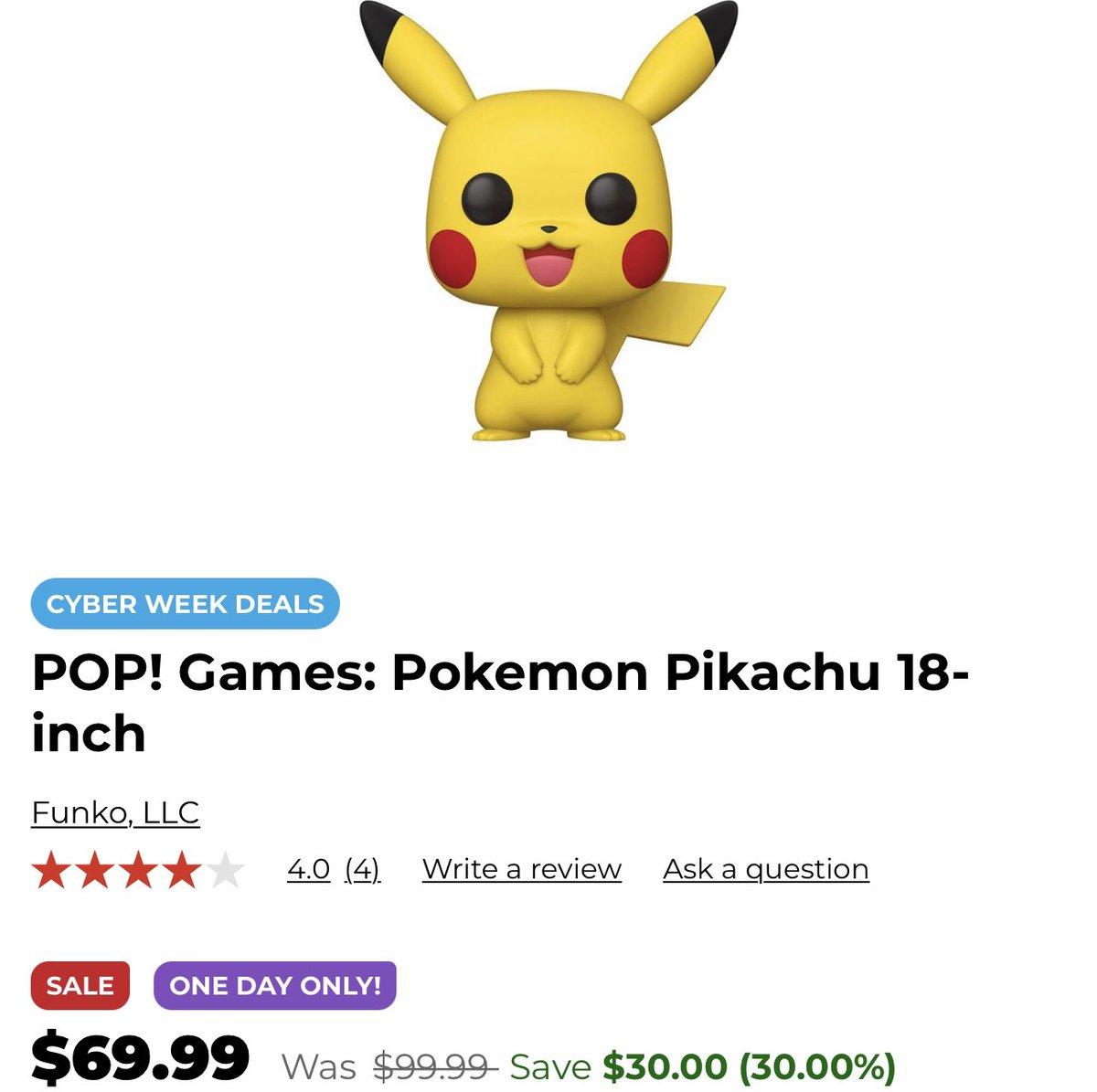 "Cyber Week Deal  - 18"" Pikachu is on sale for $69.99! #Funko #Ad ."