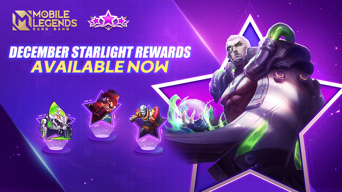 Mobile Legends Bang Bang On Twitter December Starlight Rewards Are Available Now Exclusive Skin Yu Zhong Biohazard Painted Skin Fortune Machine Battle Emote Deadly Venom Sacred Statue Draco Grip And More Try