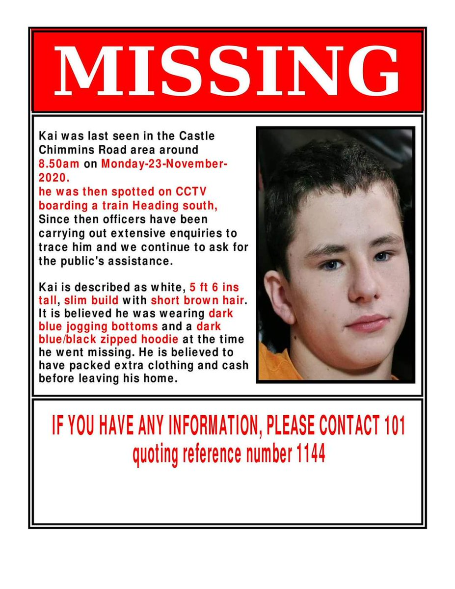 **STILL MISSING* *UPDATED INFO**  Police have updated Kai's family and confirmed that Kai was seen boarding a train to the LONDON area!!!  This is the latest poster with all updated information can everyone PLEASE SHARE this far and wide and help get Kai home to his family 🙏❤️