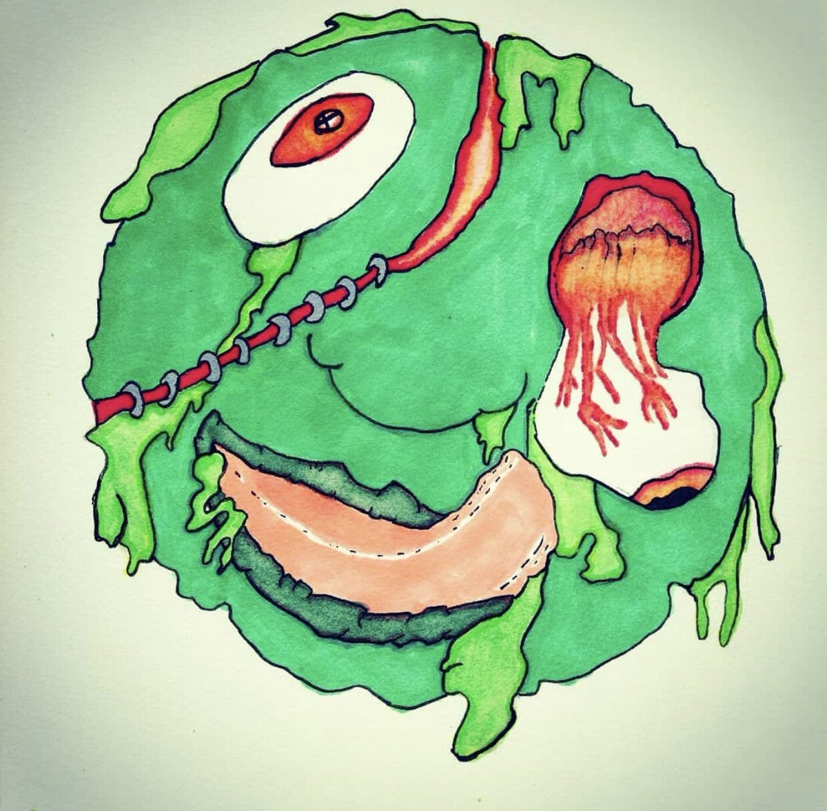 Trying to digitize this slime ball.. till then this is all markers 😑   #art #artist #drawing #toxic #artwork #gross #ArtistOnTwitter #madball #procreate #retro #illustration #digitalart #slime  #happy #California #life #mystery #日本 https://t.co/DSXL7cHNGo