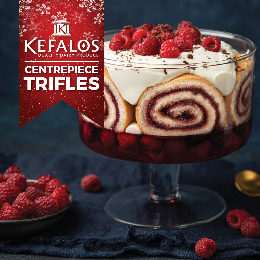 CENTREPIECE TRIFLES  Beautiful to look at and simple to make, a trifle is a traditional finale to a festive meal.   Visit our facebook page for details.  #trifletime #festivevibes #kefalosproducts #christmasdesserts #creamycreations