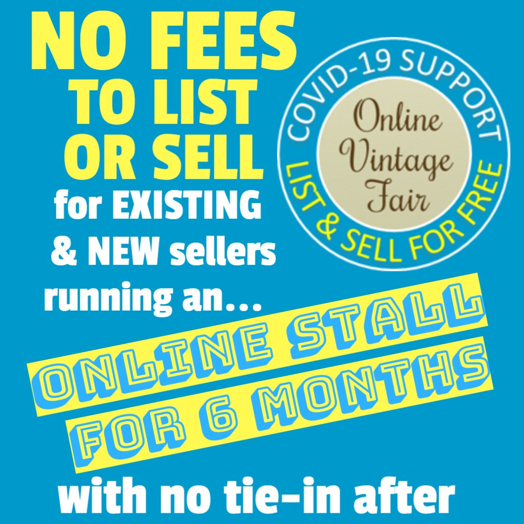 #onlinevintagefair support for sellers of #vintage #retro #upcyled #handcrafted List & Sell PLUS showcase your etsy, ebay, instagram offerings & we'll promote across our social pages ALL FOR FREE for 6 months & no tie-in 😍&... https://t.co/hXYmZCZYSW