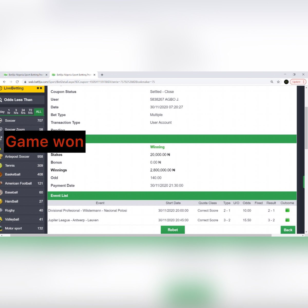 Game won  More successful winning coming  Just inbox whatsapp or call admin to participate  +2348028068884 #bet9ja #bet365 #betfair #bet #soccer #soccer24 #williamhill #bwin #bovada # #june  #Happynew month #Football https://t.co/Yk3NVTH5MO