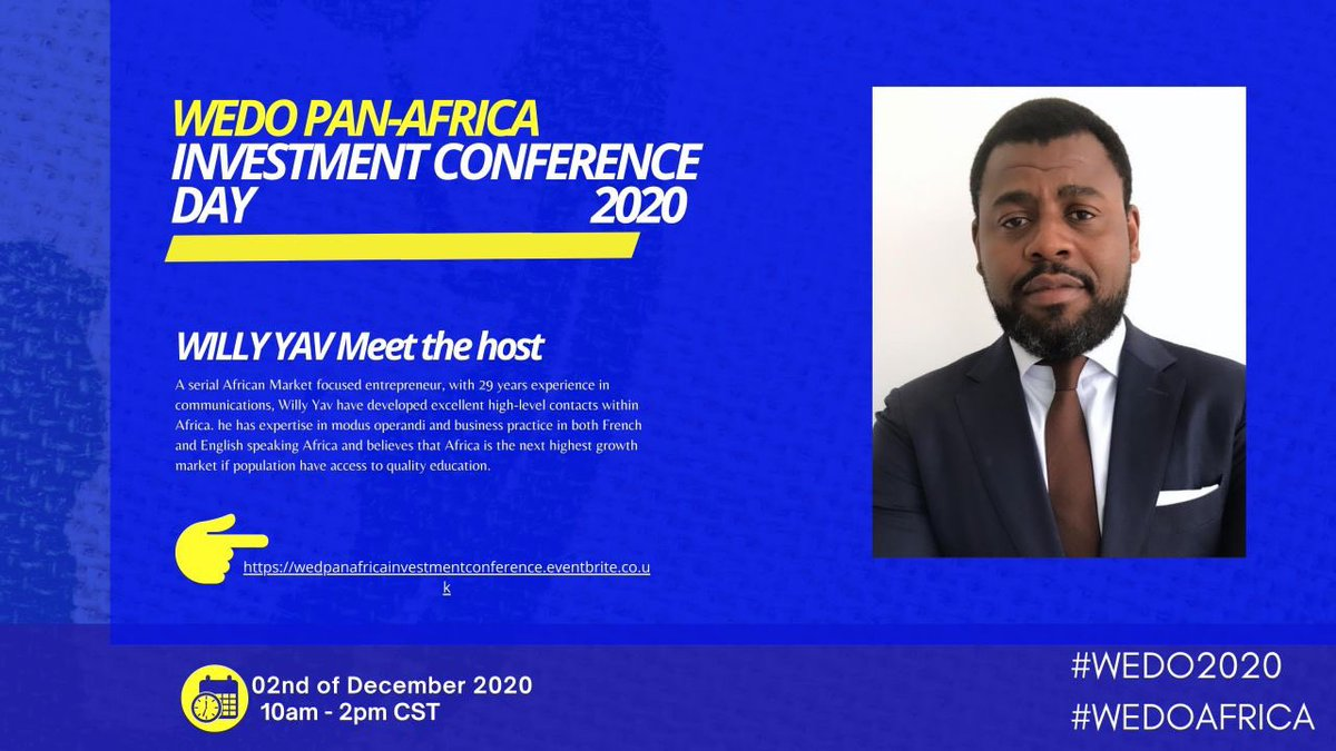 MEET THE HOST  A serial African Market focused entrepreneur, with 29 years of experience in communications, #Willyyav has developed excellent high-level contacts within Africa. #wedo2020 #wedoafrica #WomensEntrepreneurshipDay