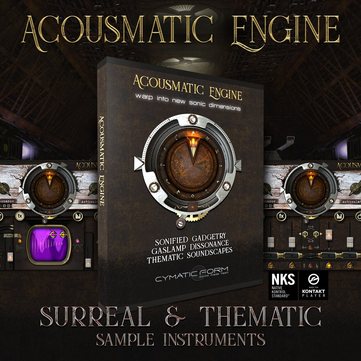 500 surreal Kontakt Instruments combining conceptual sampling and synthesis. Embracing the sound worlds of Sci-Fi Noir, Lovecraftian Horror and Steampunk, enlivening film, game and music across genres.  From the creator of Kinetic Metal and Kinetic Toys.