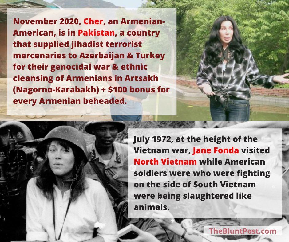 Ladies & Gentlemen @cher For 5 weeks, she did not say a word about the slaughter of #Armenians by #Azerbaijanis #Turks #Syrian #Libyan & #PAKISTANI jihadist mercenaries, did NOT do a PSA, yet she is in Pakistan, Armenia's enemy. So much compassion #CHER Heartless like #Trump https://t.co/5mYbxsd02Q