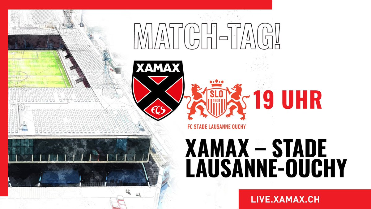 😍 MATCH-TAG 😍 ⚽ @XamaxFCS 🆚 Stade Lausanne-Ouchy @FC_SLO 🕒 19 Uhr 🏟 Maladière 🏆 @brack Challenge League, 9. Runde 📢 LIVE: @XamaxFCS oder https://t.co/P3J9XMC3yL 📺 LIVESTREAM: https://t.co/b53zNHKCTj 🥳 #⃣ #XAMSLO, präsentiert von @bcn_banque ❤️🖤 #AllezXamax #MaFamille https://t.co/i6BtMk94nF