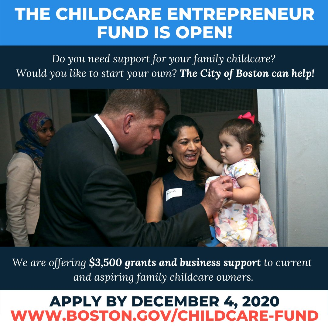 To help childcare providers in Boston keep up with #COVID19 standards, @BostonWomen is offering $3,500 grants and business support as part of its Childcare Entrepreneur Fund. The deadline to apply is Friday, December 4, at 5 p.m.   For more info, visit: https://t.co/2oHOvFbF2e https://t.co/rrrvLLsx7R