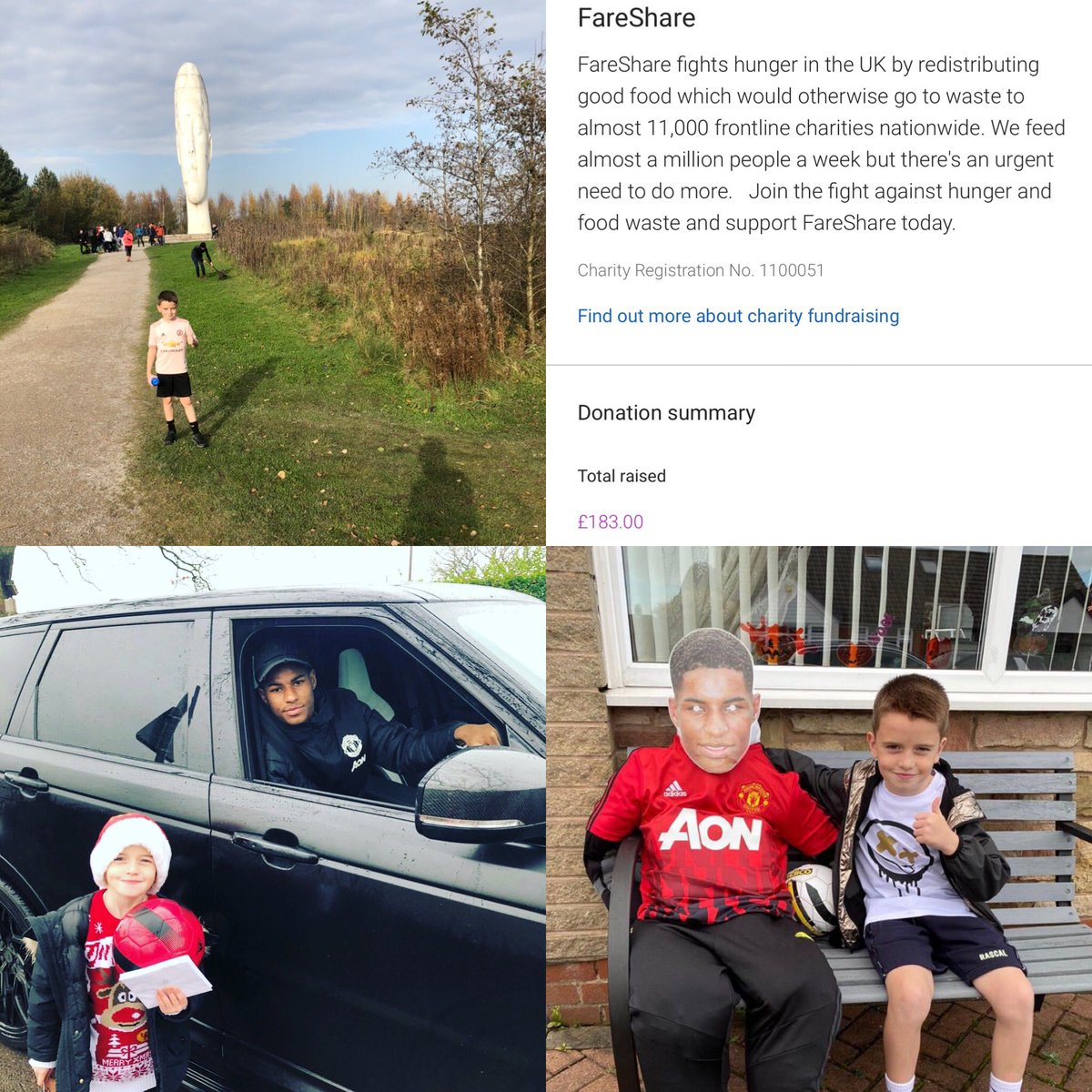 @MarcusRashford @FareShareUK @FareShareGtrM  Jacob seen the good work from you guys and wanted to help out himself,so we decided to run 20km and Jacob did it in 4 runs and raised over £180,that's also his @wbhospice scarecrow he made of the man himself