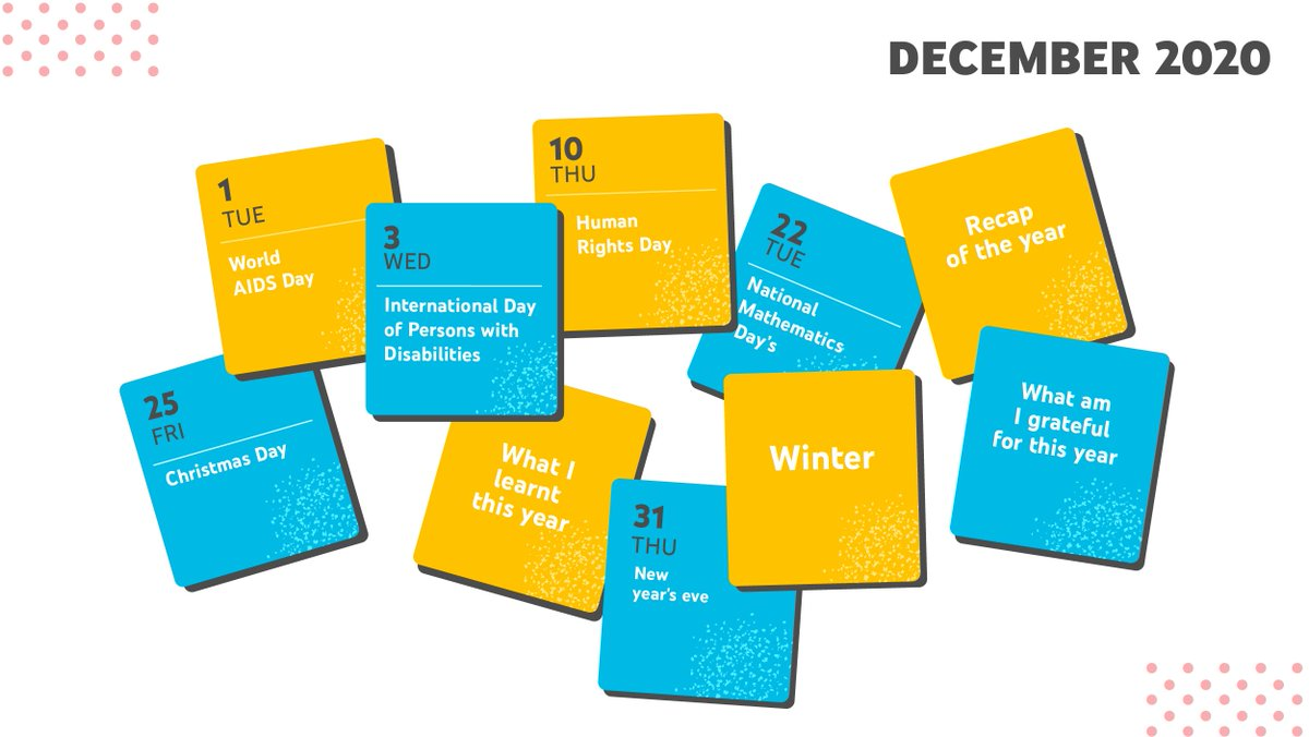 Time to put your creative hats on and start creating amazing content in December!