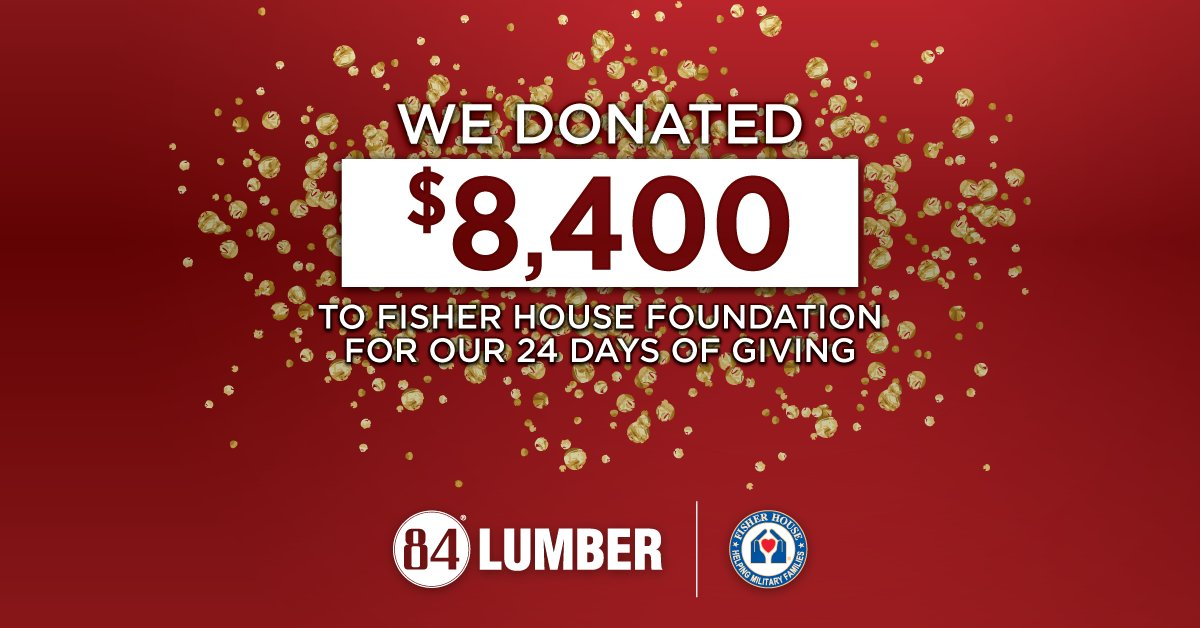"On this #GivingTuesday, we are launching our 24 Days of Giving by donating $8,400 to the Fisher House Foundation The FHF provides a ""home away from home"" for military families and veterans while a loved one is in the hospital.  #GivingTuesday #HolidayGiving #24DaysofGiving"