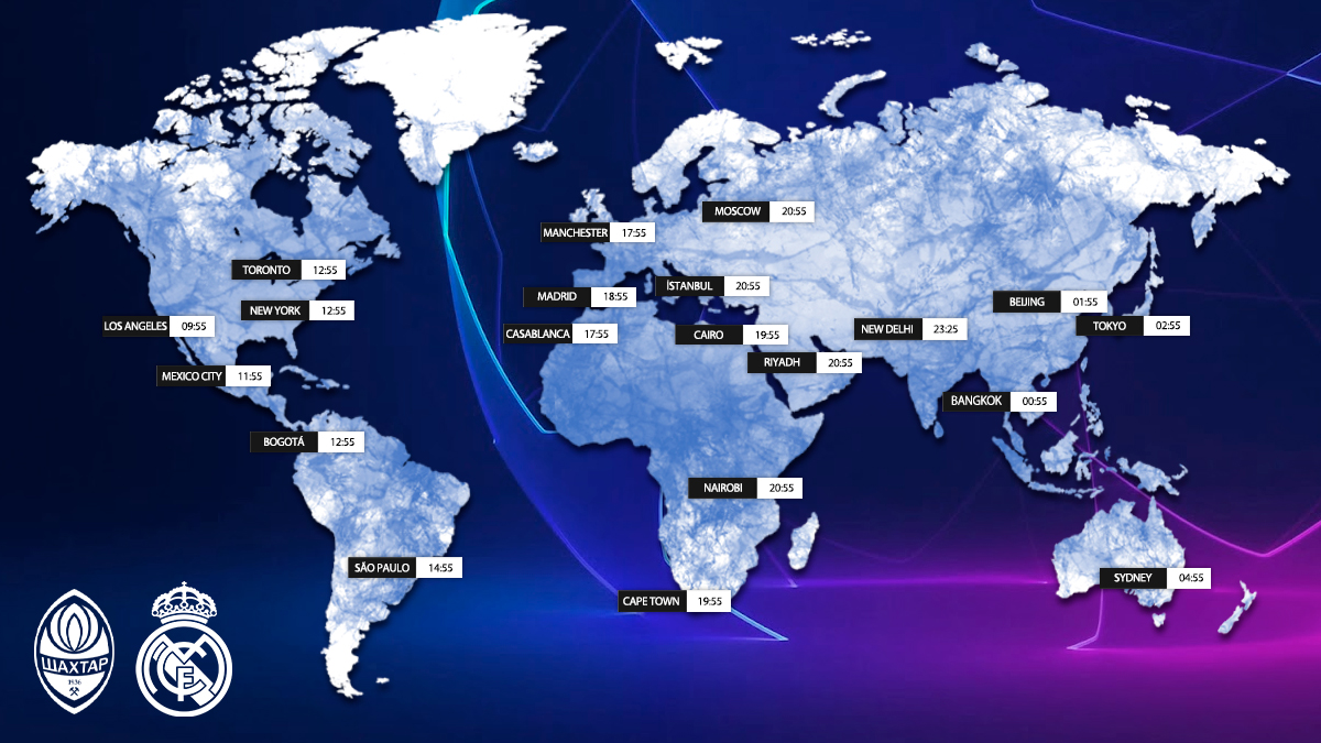 🗺️ Kick-off times around the world for tonight's match!  📍 Where in the world will YOU be watching our @ChampionsLeague clash 🆚 @FCShakhtar_eng? 👇 Let us know below, #RMFans! 👇