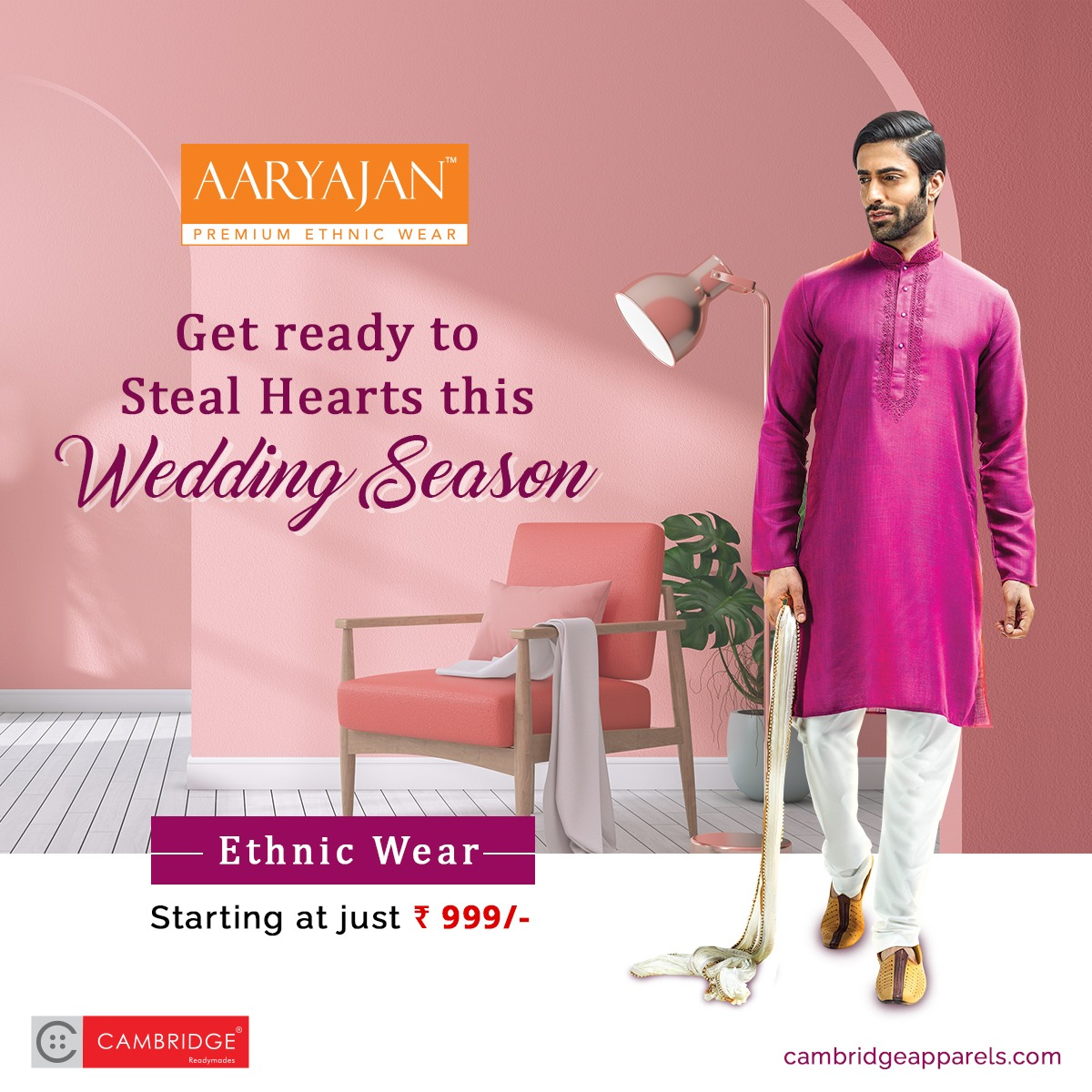 With uniquely designed kurta suits and trendy jackets starting at just Rs. 999, you'll be all set to steal hearts this festive and #WeddingSeason.   Shop from our ethnic collection today by visiting your nearest Cambridge Apparels store or through our website.