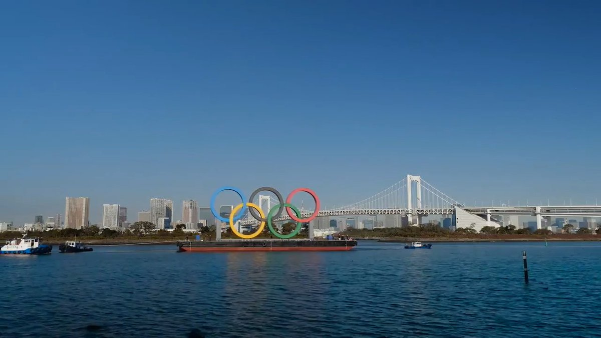 The Olympic Rings are back on display in Tokyo's Odaiba Marine Park! 🥳 #Tokyo2020  The famed Five Rings will remain in the bay until 8 August 2021 and will be illuminated at night, offering a great view of Rainbow Bridge and the Tokyo landscape. 🏙️  👉 https://t.co/oVc4K2oRbp https://t.co/CP0MzK4ecG