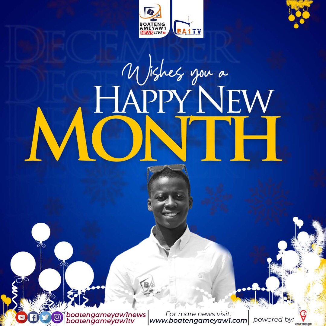 Good morning family ❤️😊 Happy New Month, May God cure all your wounds and take you out of all your problems. Remain blessed and have a good new month. #BoatengAmeyaw1News #DecemberWish #December1st #GoodMorningTwitterWorld #blessings #GHMCElections2020 #GhanaElection2020