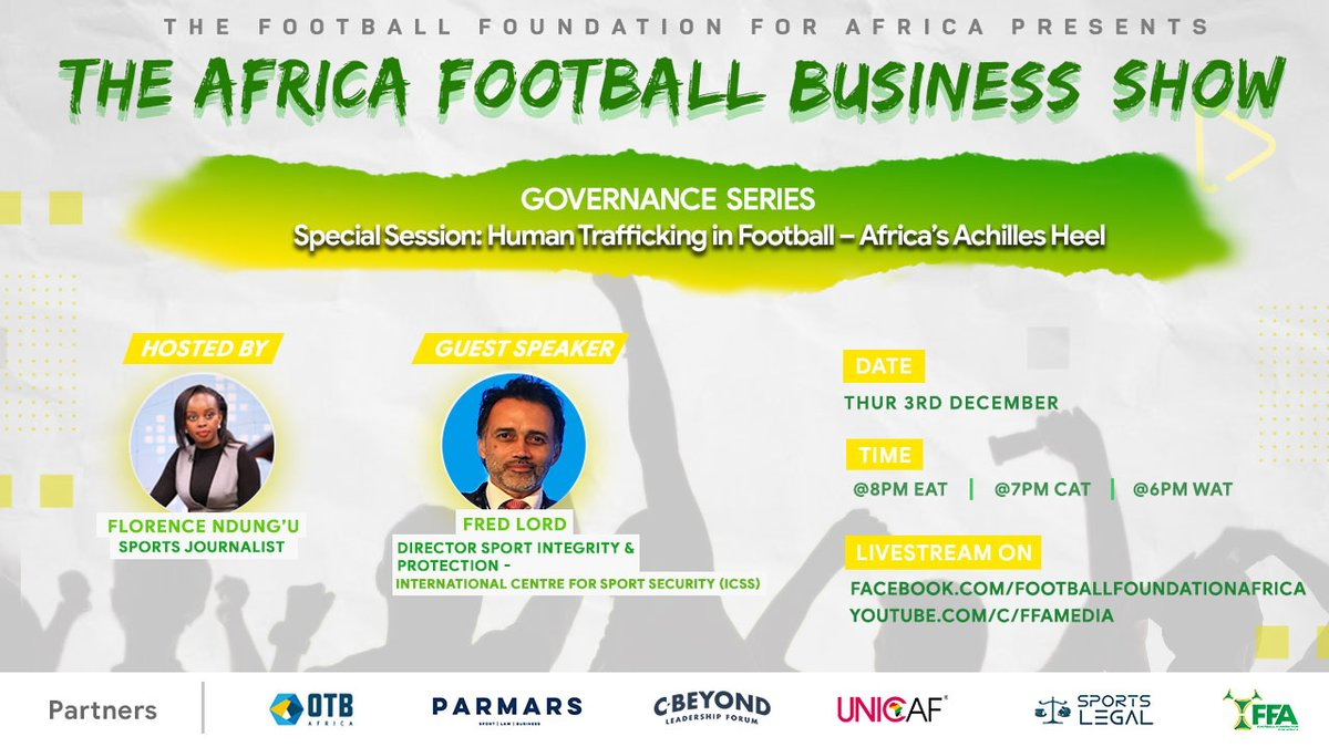 Last week on The Africa Football Business Show, we looked into the labour market in professional football. This week we are joined by @The_ICSS Director Sport Integrity and Protection, Fred Lord @LORD_TSCM to discuss #HumanTrafficking in #football. JOIN US