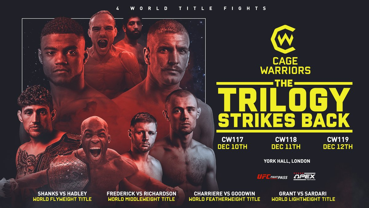 European MMA's must-see event, hitting your screens for 3 consecutive days on December 10th, 11th and 12th.  10 days until #THETRILOGY Strikes Back.  Are you ready?