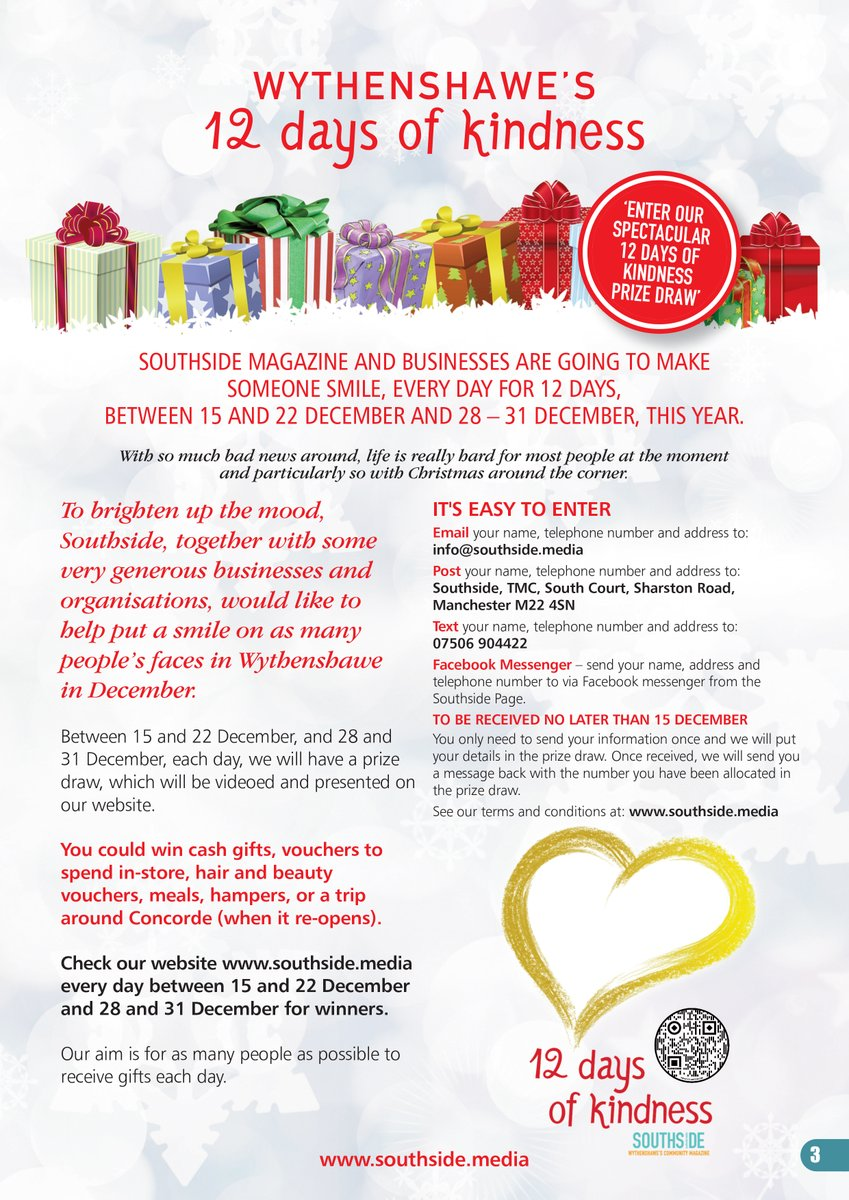@southsidemag would like to put a #smile on peoples faces during the #Christmas #period.   #Enter our '12 Days of Kindness' #Free #PrizeDraw with the #chance of winning one of over 80 #prizes -  @firbankpub @HollyHairFairy @CUManchester @tonetech @asda