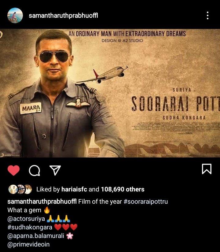 Actress @Samanthaprabhu2 About #SooraraiPottru   ' Film of the Year' @Suriya_offl @Aparnabala2  #SudhaKongara