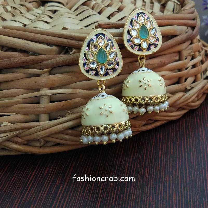 Small Light Pista Green #Meenakari ... #Diwali #Earrings #Eid #GreenEarringsForWedding #GreenEthnicEarrings #Holi #IndianJhumkaEarrings #JhumkaEarrings #JhumkasOnline #Jhumki #Karvachauth #MeenakariEarringsOnline #MintGreenEarrings #Navratri #Rakhi