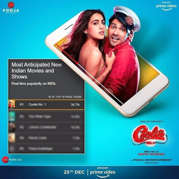 #CoolieNo1  The most anticipated new Indian Movies & Shows   Real time popularity by IMDb  #CoolieNo1  #CoolieNo1Trailer  #CoolieNo1OnPrime  #VarunDhawan  #SaraAliKhan  #Vdfkofficial  @Varun_dvn  @VdfkOfficial  @poojafilms  @vashubhagnani  @jackkybhagnani