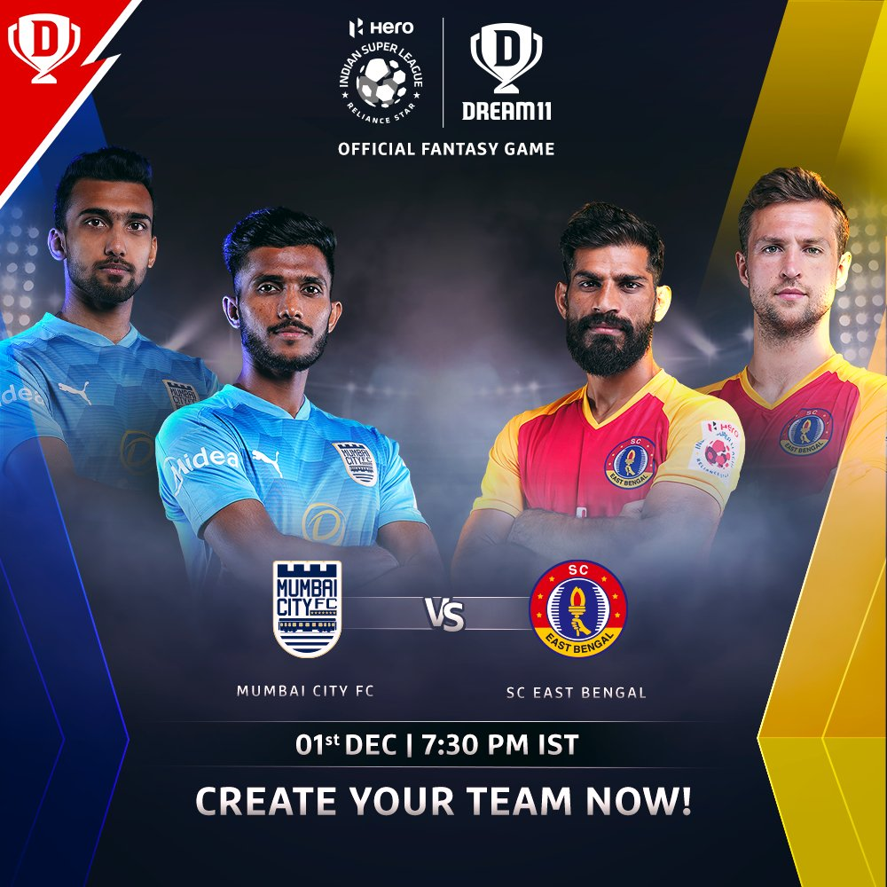 #HeroISL will see some brilliant talent take the field when @MumbaiCityFC face @sc_eastbengal tonight 🙌  Download the app and make your #Dream11 now. Click: . #LetsFootball #MCFCSCEB @IndSuperLeague