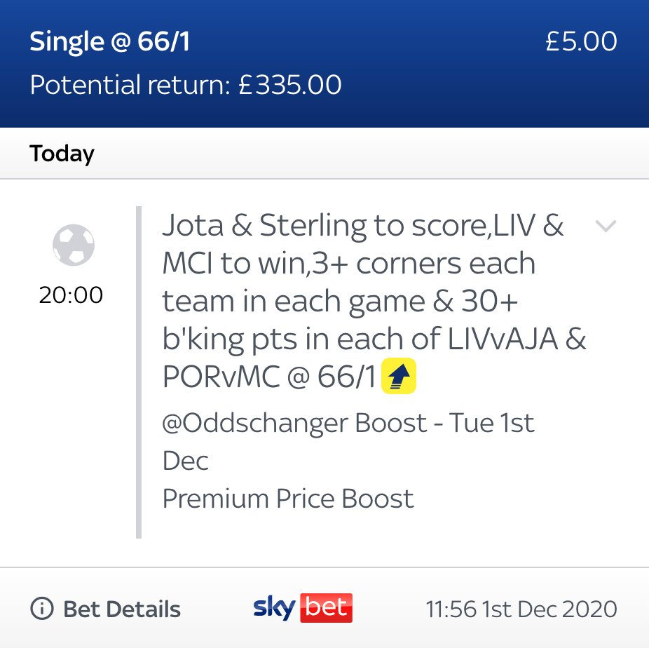 TONIGHT'S #UCL CROSS-MATCH PREMIUM BOOST!!!! 🧨  ⚡️ 50/1 --> 66/1 (as of 11:56am)  This can only be found through our direct bet-slip link! 📝  HIT '❤️' IF YOU WANT THE DIRECT LINK!  (18+ )